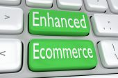 """3D illustration of computer keyboard with the print """"Enhanced Ecommerce"""" on two adjacent green buttons poster"""