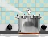 Pressure cooker ready to explode on a red hot burner poster