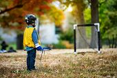 Little kid playing lacrosse with his stick in the autumn park poster
