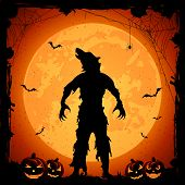 Halloween theme, werewolf on Moon background with pumpkins, grunge decoration, cobweb, spiders and bats, illustration. poster