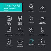 Medical equipment - set of modern vector plain simple thin line design icons and pictograms on black background. Medical workwear, blood pressure monitor, beauty, pregnancy, orthopaedic product poster