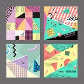 Retro vintage 80s or 90s fashion style. Memphis cards. Trendy geometric elements. Modern abstract design poster, cover, card design. Vector illustration. Big set. poster