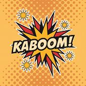 kaboom boom explosion cartoon pop art comic retro communication icon. Colorful pointed design. Vector illustration poster