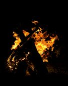 bonfire campfire with blazing fire flames at night poster