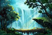 The Wood Bridge inside the Deep Forest near a Waterfall. Video Game's Digital CG Artwork, Concept Illustration, Realistic Cartoon Style Background poster