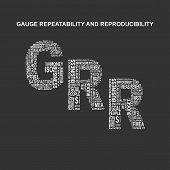 Gauge repeatability and reproducibility typography background. Dark background with main title GRR filled by other words related with gauge repeatability and reproducibility method. Vector illustration poster
