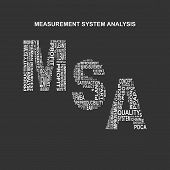 Measurement system analysis typography background. Dark background with main title MSA filled by other words related with measurement system analysis method. Vector illustration poster
