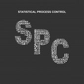 Statistical process control typography background. Dark background with main title SPC filled by other words related with statistical process control method. Vector illustration poster