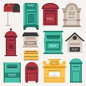 Beautiful rural curbside open and closed mailboxes with semaphore flag vector illustration. Traditional communication empty postage post mail box. Letter message post mail box service correspondence. poster