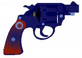 A snub nose handgun in halftone isolated over a white background. poster
