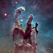 The Pillars of Creation. The Eagle Nebula or M16 or NGC 6611 is a young open cluster of stars in the constellation Serpens. Retouched image with small DOF. Elements of this image furnished by NASA. poster