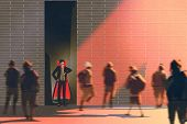 dracula hiding in narrow alley from burning sunlate in morning, illustration painting poster