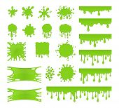 Slime vector set. Collection of blots splashes and smudges. Green liquid. Drops slime isolated on white background. poster