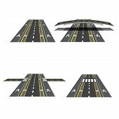 Set of different road sections with peshihodnymi crossings, bicycle paths, sidewalks and intersections. Vtctor illustration poster
