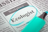 A Newspaper Column in the Classifieds with the Jobs Section Vacancy of Ecologist, Circled with a Azure Marker. Blurred Image with Selective focus. Concept of Recruitment. 3D Illustration. poster