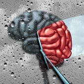 Dementia therapy and brain disease cure or mental health treatment concept as a blurry brain with drops on a window as a wiper cleans the confusion to a healthy thinking organ as a symbol for neurology or psychological help with 3D illustration elements. poster