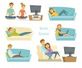 Home leisure. Couple watching tv. Man work at home and women shopping online on sofa with laptop. Friends playing video games. People lying on sofa and relax. Home leisure young people. Leisure time poster
