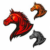 Furious horse head icon. Stylized fire flaming stallion vector emblems. Aggressive powerful mustang symbol for sport club emblem badge, team shield, label, tattoo poster