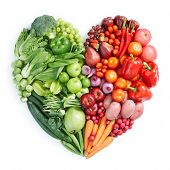 heart shape by various vegetables and fruits poster