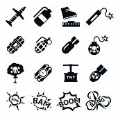 Bomb icons. Black and white bombs pictograms. Explosion and destruction signs, vector illustration poster