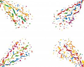 Exploding party confetti and streamers on white background
