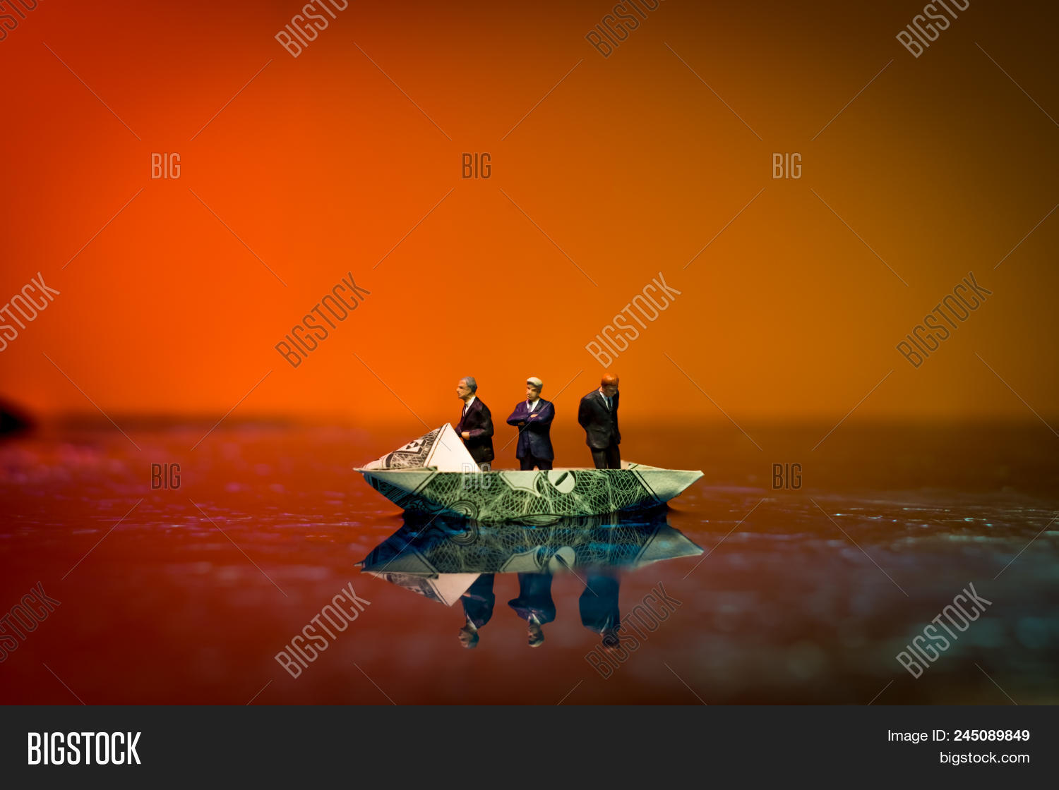 Origami Boat Made Of Dollar Bill Sails Into The Blue Stock Photo ... | 1120x1500