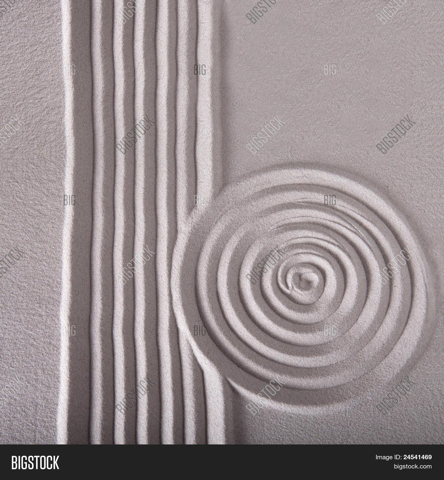 Sand Zen Garden Raked Sand Abstract Image & Photo   Bigstock