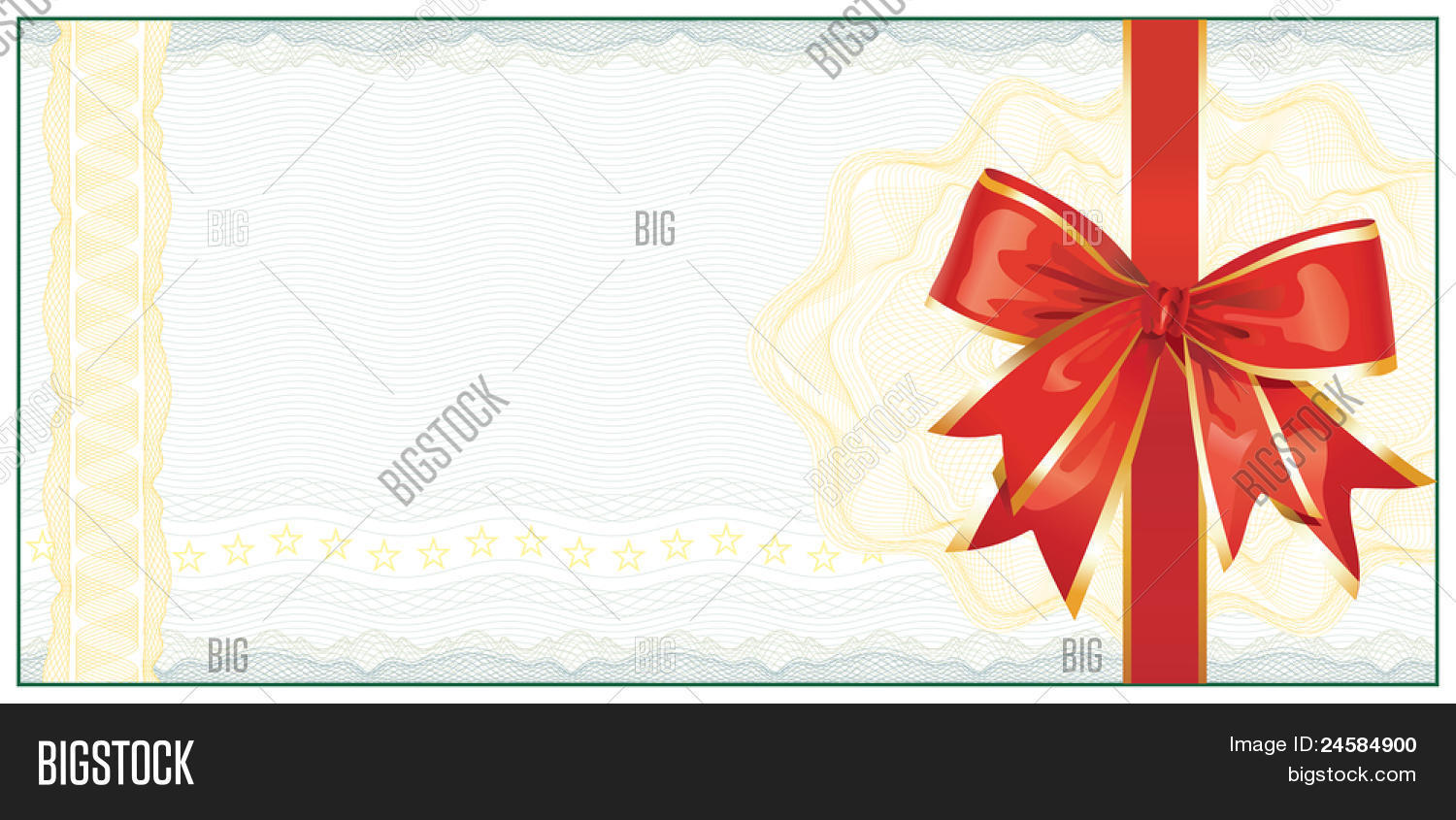 Golden gift certificate discount vector photo bigstock golden gift certificate or discount coupon template with red bow vector yadclub Image collections
