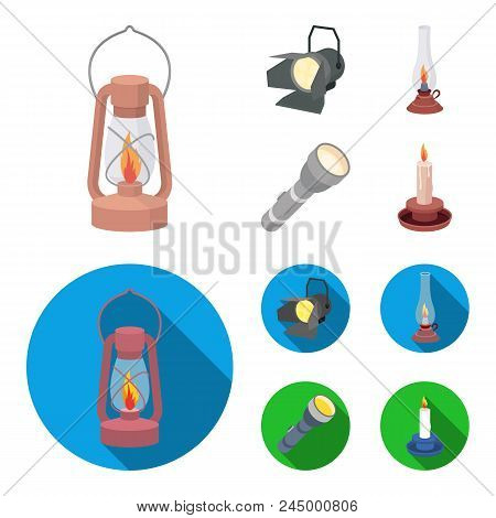 Searchlight, Kerosene Lamp, Candle, Flashlight.light Source Set Collection Icons In Cartoon, Flat St