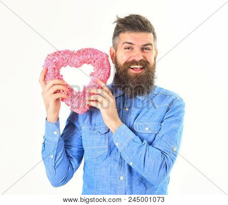 Macho In Love, Shows His Romantic Feelings. Man With Happy Face Holds Pink Heart, Symbol Of Love. Ma