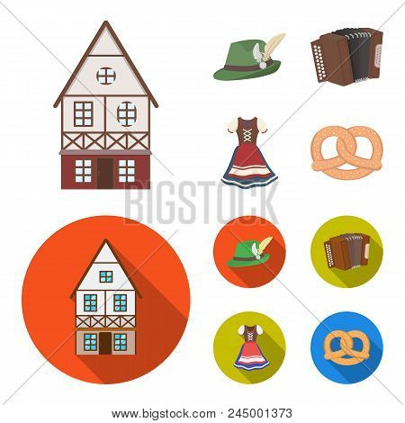 Tyrolean Hat, Accordion, Dress, Pretzel. Oktoberfestset Collection Icons In Cartoon, Flat Style Vect