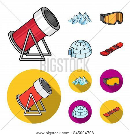 Mountains, Goggles, An Igloo, A Snowboard. Ski Resort Set Collection Icons In Cartoon, Flat Style Ve