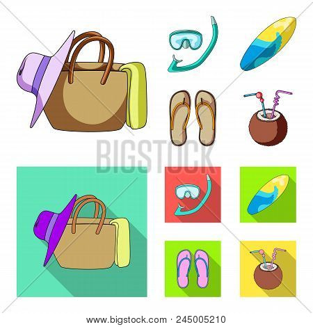 Diving, Surfing, Cocktail.summer Vacation Set Collection Icons In Cartoon, Flat Style Vector Symbol