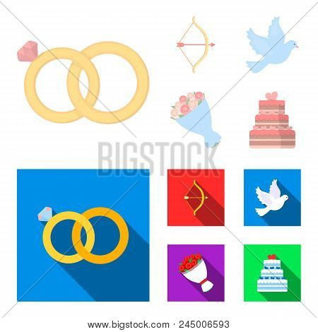 Arrow Cupid, Dove, Bouquet Of Flowers, Wedding Cake. Wedding Set Collection Icons In Cartoon, Flat S