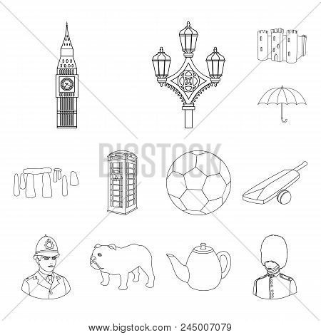 England Country Outline Icons In Set Collection For Design.travel And Attractions Vector Symbol Stoc