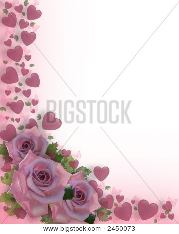 Hearts And Roses Background Or Border