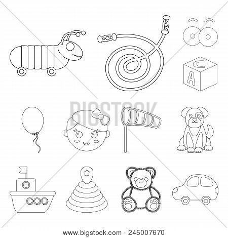 Children's Toy Outline Icons In Set Collection For Design. Game And Bauble Vector Symbol Stock Web I