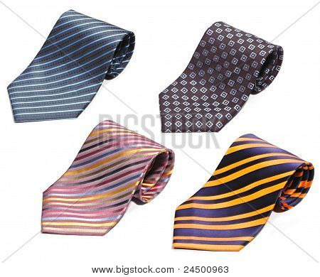 Set Of Rolled Up Neck Ties Isolated On White Background
