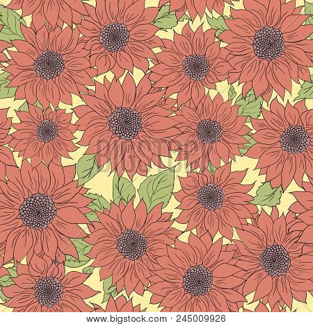 Hand Drawn Pattern Of Sunflowers Background. Flower Sunflower Pink, Green. Packaging, Oil Products F