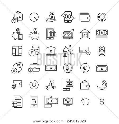 Premium Set Of Money Line Icons. Simple Pictograms Pack. Stroke Vector Illustration On A White Backg