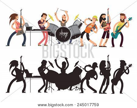 Music Performance With Young Musicians. Rock Concert Vector Flat Concept. Set Of Cartoon Characters