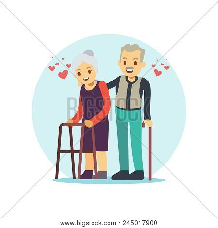 Smiling And Happy Old Couple. Elderly Family In Love Cartoon Character Isolated On White. Vector Ill