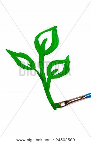 Brush draws a green sprout