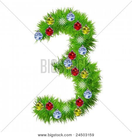 High resolution conceptual Christmas font made of green fir tree branches with red,yellow and blue ornaments, with star haape snowflakes, isolated on white background, for holiday or religion designs