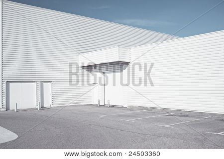 White industrial architecture
