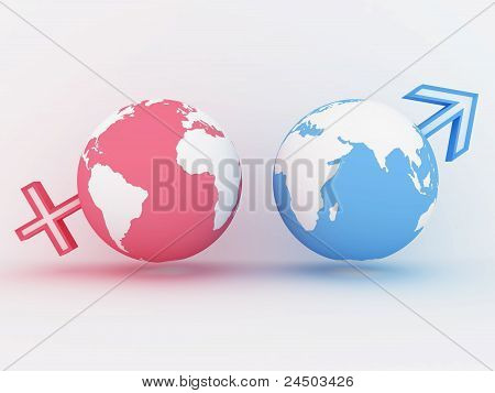 Two Globe With Male And Female Sign. 3D Image