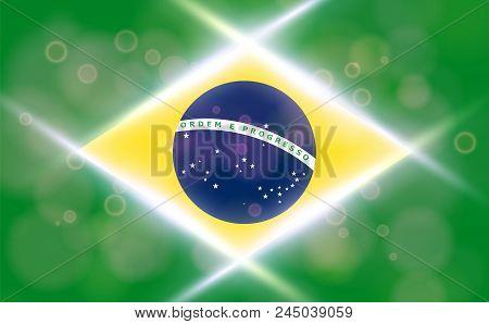 The National Flag Of Brasil. Modern Vector Pattern, Banner Of Brasil. Flat Standard, Design Element