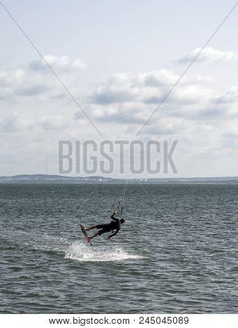 A Kite Surfer Perform A Stunt At Santa Pola, Spain
