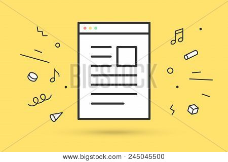 Icon Of Web Page. White Web Page With Text In Line Graphic. White Web Page Isolated On A Yellow Back