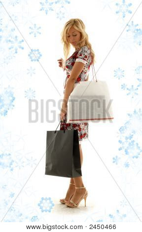 Shopping Girl With Snowflakes #2
